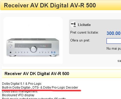 Receiver dobly digital (marca DK)